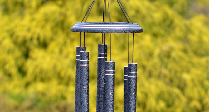 Arabesque wind chimes -        Silver-etched and Elegant