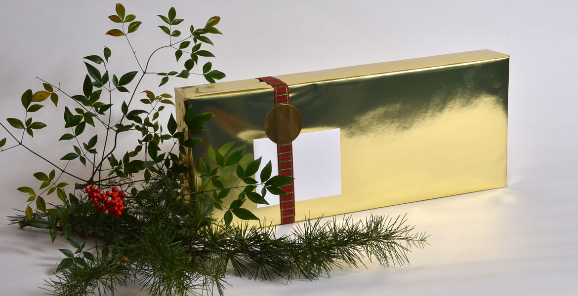 All wrapped up for the holidays!<br>Beautiful seasonal gift wrap for only $5.00.